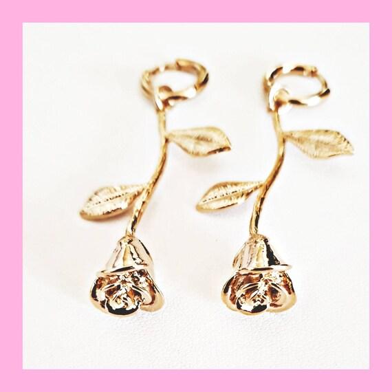 mini pink pendant Little Rose Creoles mini 16K golden brass creole