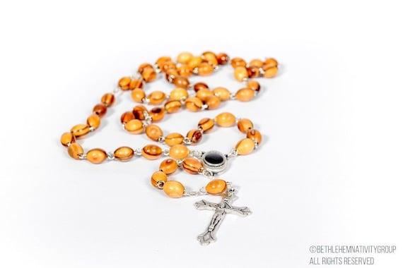 ACQUA SANTA unzione Olio Set Legno Rosario Preghiera Perle e Croce Gerusalemme