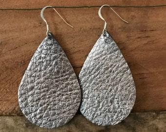 Gun Metal Grey Metallic Teardrop Leather Earrings.