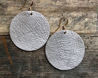 Patricia - Silver Gold Champagne Leather Circle Earrings