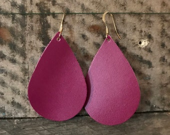 Wine Teardrop Leather Earrings