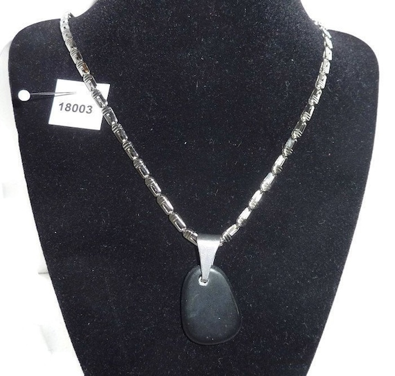 Stainless Steel Polished Crystal Necklace 18 Inch
