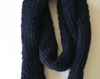 Navy Knit Fringe Scarf