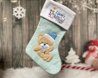 Baby Christmas Stocking - Embroidered Stocking - First ChristmasStocking - 1st Christmas Stocking - First Stocking -Baby Stocking