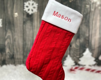 Custom Red Christmas Stocking - Farmhouse Christmas - Cable Knit Stocking - Embroidered Stocking - Christmas Decor - Monogram Stocking