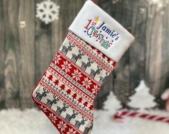 Baby Christmas Stocking 201 - First Christmas Stocking 2021 - 1st Christmas Stocking - Nordic Stocking -Fairisle Baby Stocking