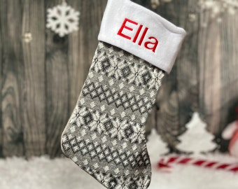 Fairisle Silver Stocking - Personalized Christmas Stocking - Nordic Stocking - Christmas Decor - Kids Christmas Stocking - Knitted Stocking