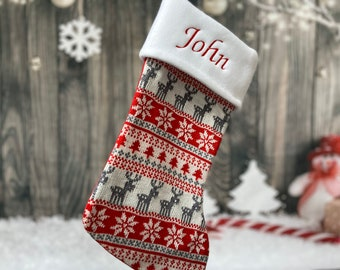 Fairisle Red Stocking - Personalized Christmas Stocking - Reindeer Stocking - Christmas Decor - Kids Christmas Stocking - Monogram Stocki