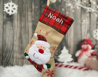 New Santa Christmas Stocking - Embroidered Stocking - Farmhouse Christmas - Custom Christmas Stocking - Burlap Stocking -Rustic Stocking