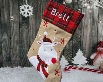 Reindeer Christmas Stocking - Embroidered Stocking - Farmhouse Christmas - Plaid Christmas Stocking - Burlap Stocking -Rustic Stocking