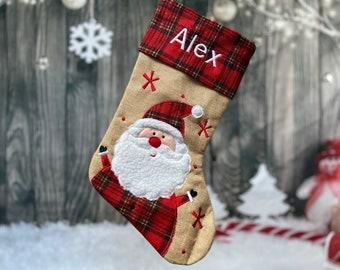 Santa Christmas Stocking - Embroidered Stocking - Farmhouse Christmas - Custom Christmas Stocking - Burlap Stocking -Rustic Stocking