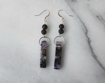 Charoite and Lava Stone Essential Oil Diffuser Earrings