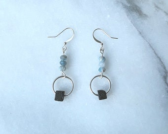 Celestite and Lava Stone Essential Oil Diffuser Earrings in Silver