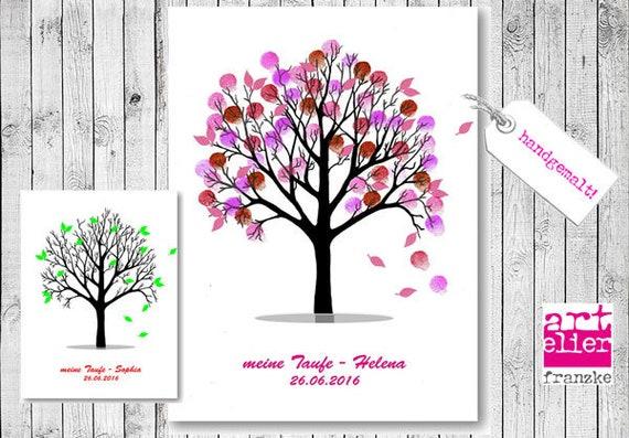 Ganz und zu Extrem Wedding Tree handgemalte Leinwand Baum Fingerprint Bild | Etsy @CM_85