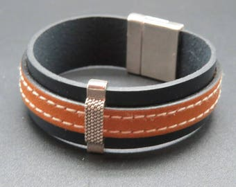 Leather cuff hand-made for woman, duck blue and camel, birthday.