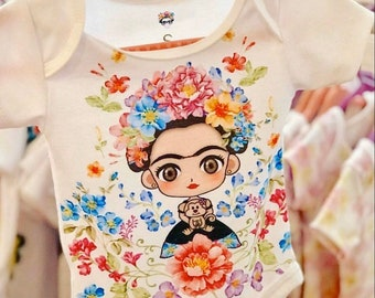 Frida Kahlo Two piece Shirt and Shorts outfit plus bow