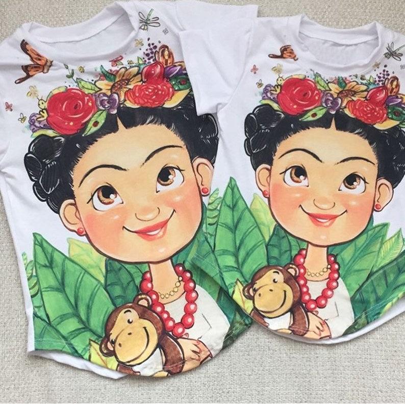 gifts for girls. T-shirt with design Frida Cartoon for girls cumpea\u00f1os infantil girl