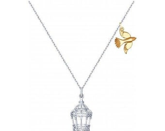 SOKOLOV - Feel Free Dove Necklace - Silver Cage And Gold Plated Silver Bird
