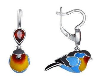 SOKOLOV - Robin Earrings Silver With Enamel, Blue Yellow
