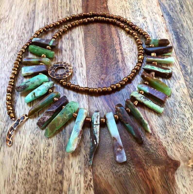 140 Chrysoprase Sticks Necklace