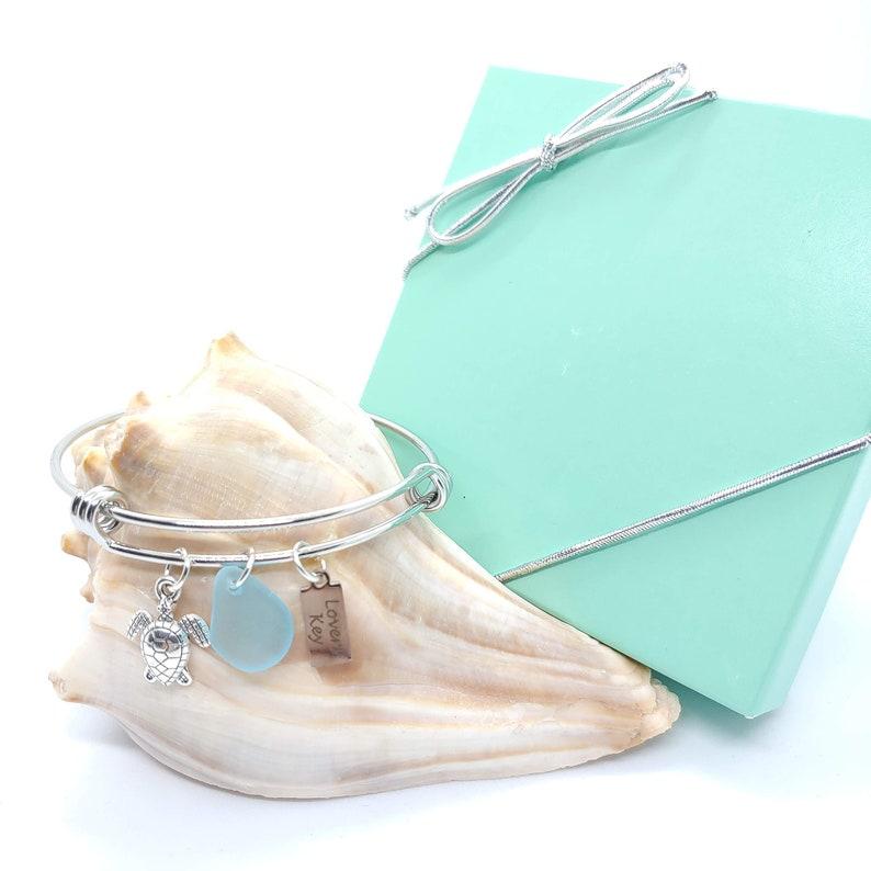 Summer Nautical Bracelet Beach Bracelet Turtle Charm Lovers Key Turquoise Sea Glass Bangle