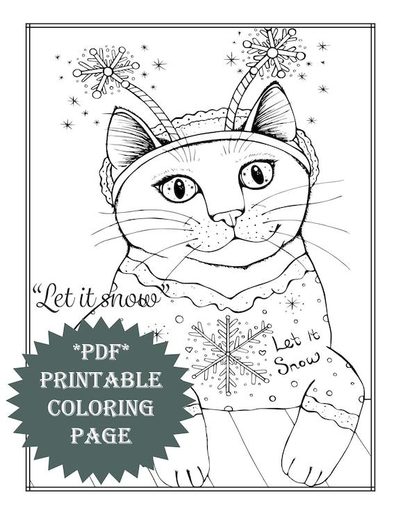 Pdf Printable Coloring Page Winter Snow Christmas Animal Cat Etsy