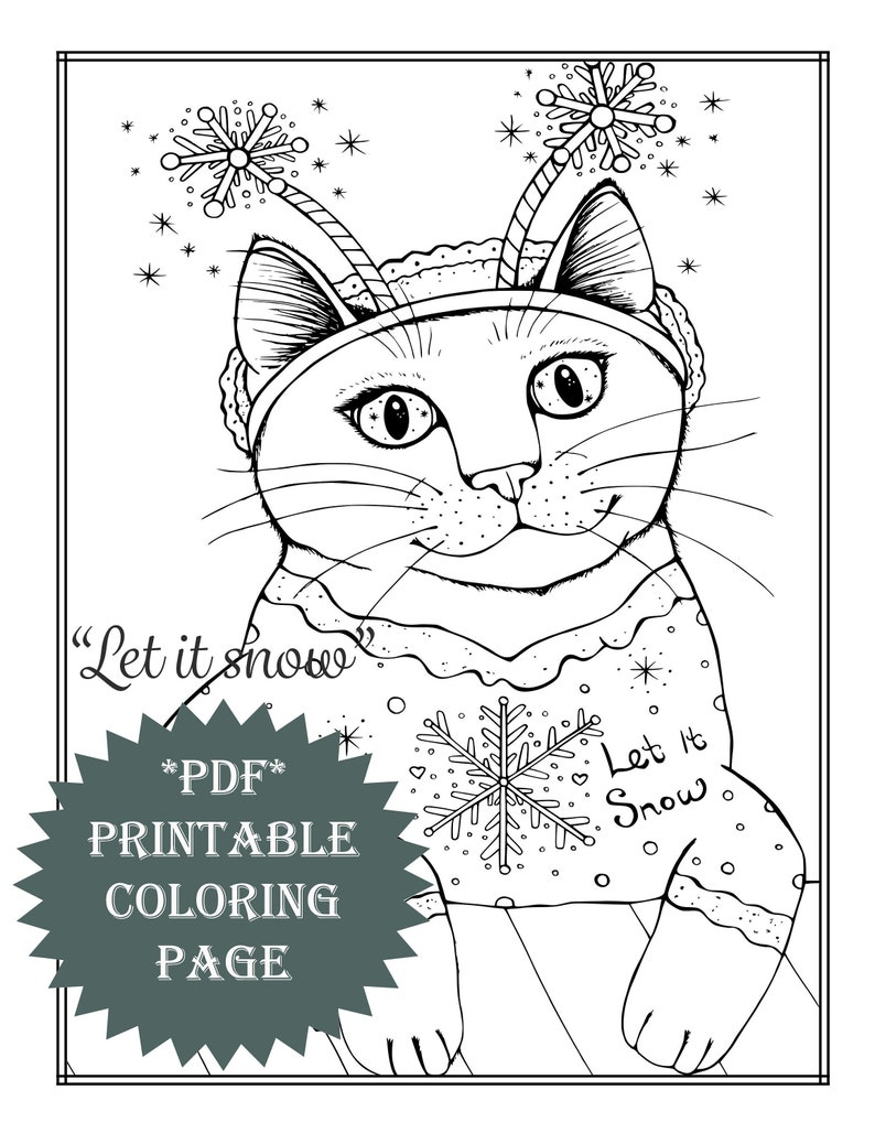 Pdf printable coloring page winter snow christmas animal cat snowflakes artwork adult coloring book