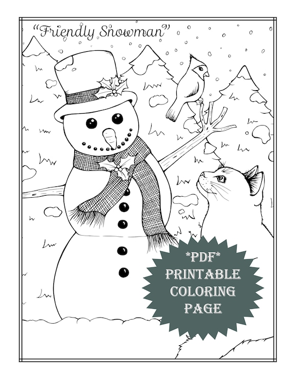 PDF Printable coloring page coloring book winter activities