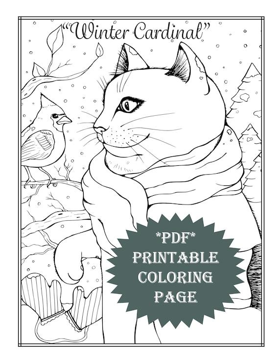 Pdf Printable Coloring Page Coloring Book Adult Coloring Animal Cat Bird Cardinal Winter Christmas Activities