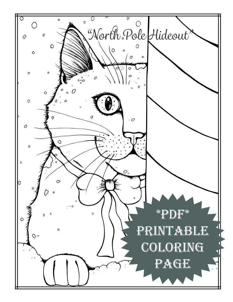 Pdf printable coloring page coloring book cat animal snow winter artwork activities crafts fun cute holidays christmas