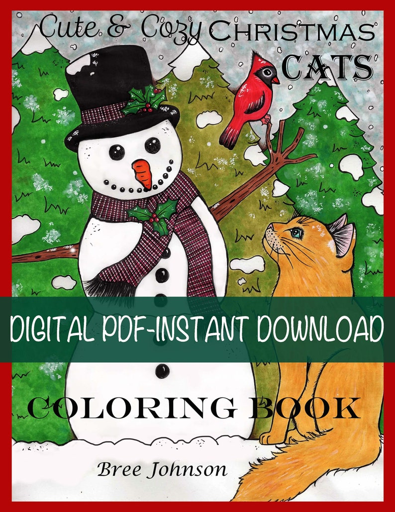 Pdf digital printable coloring book cute cozy christmas cats all ages winter art by bree johnson instant download