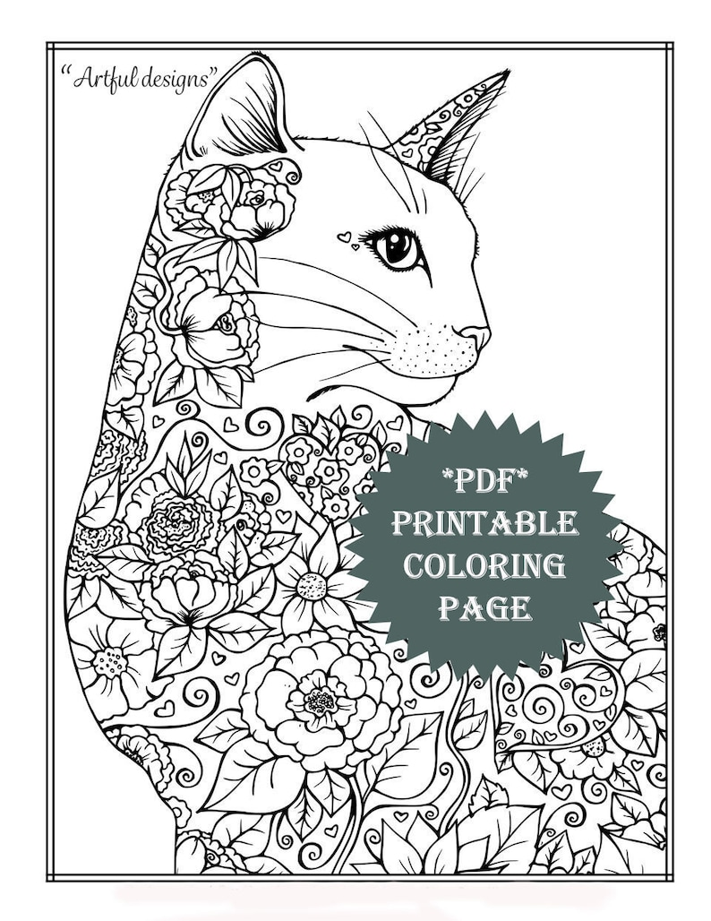 Printable Coloring Page Designs Flowers Cat Animal Artwork Adult Coloring Activity Crafts