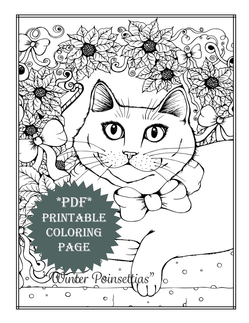 Pdf printable coloring page holiday winter cat poinsettias christmas adult coloring book animals