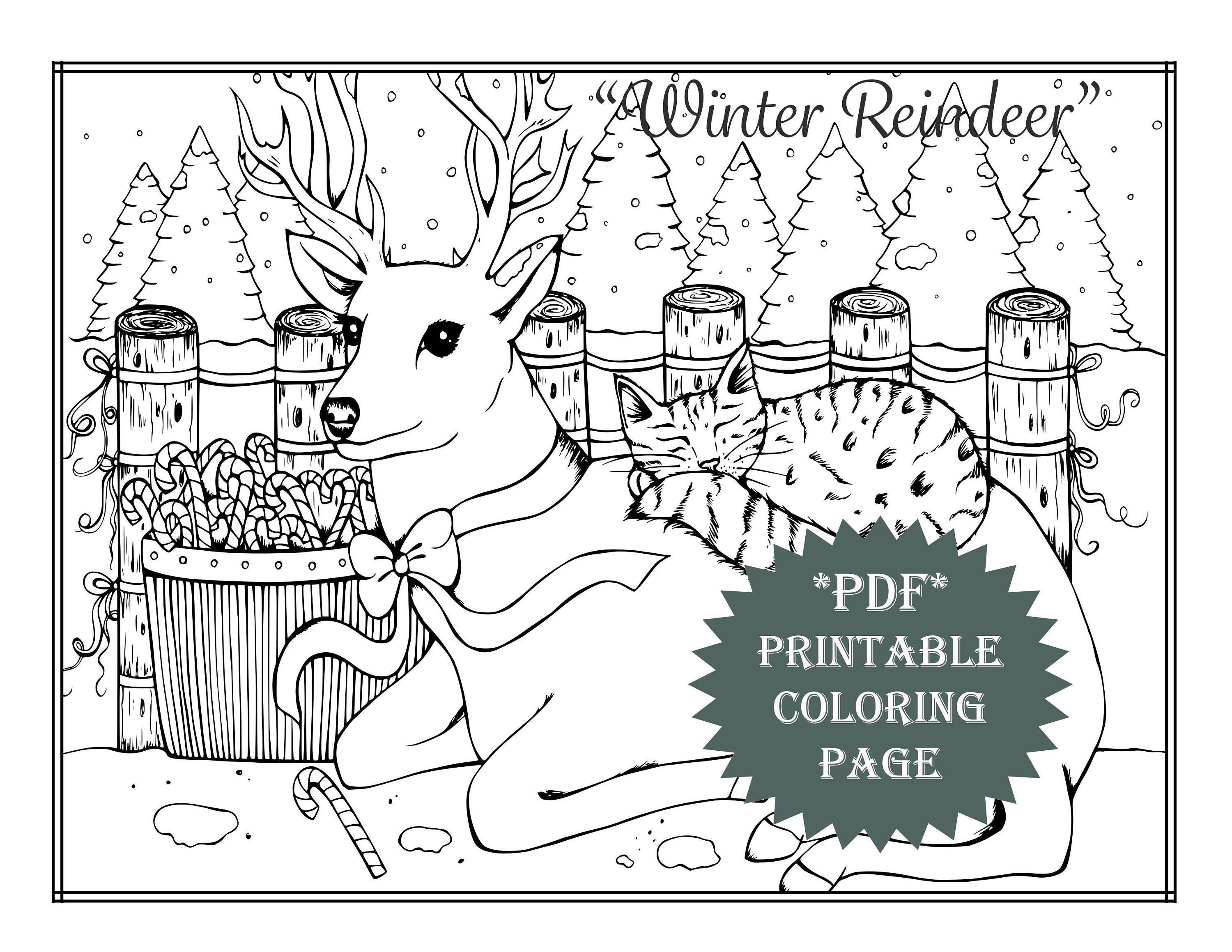 Pdf printable coloring page holiday winter reindeer cat animal adult coloring book prints christmas