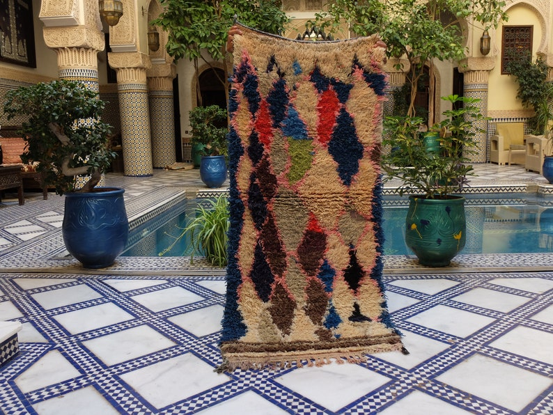 64 x 29 inches Rug Moroccan 164 x 75 Cm Vintage Azilal Rug Hand Woven by Berber Berber Carpets.natural rug.berber teppich