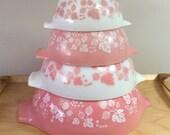 Pyrex Gooseberry Cinderella Mixing Bowls Set of 4 Pink Nesting Bowls 441-442-443-444