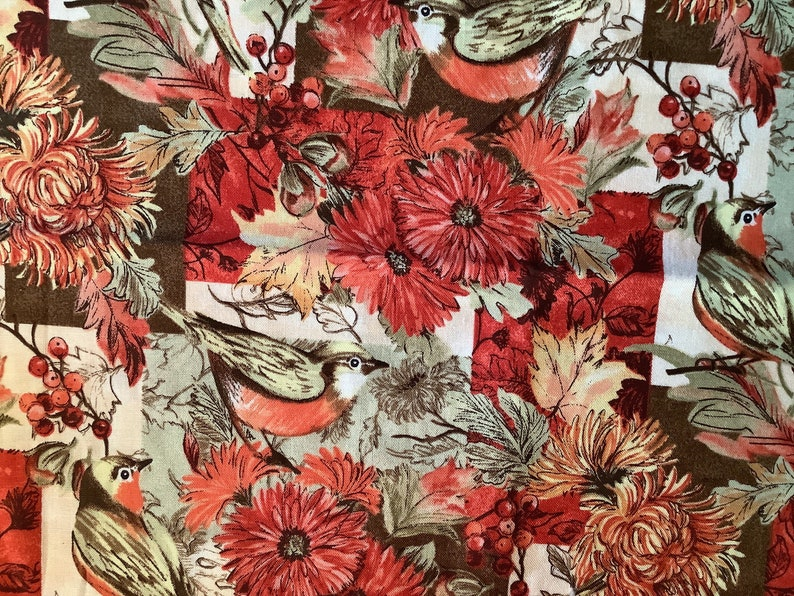Susan Winget Mums and Marigolds Premium Cotton Fabric                  1  Yard