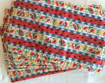 WATERMELON PLACEMATS  Handcrafted  5 with matching napkins and Tablecloth