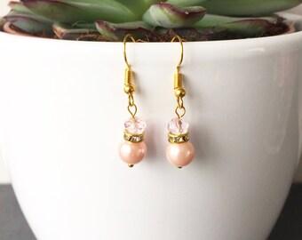 Blush Pink Pearl and Rhinestone Earrings