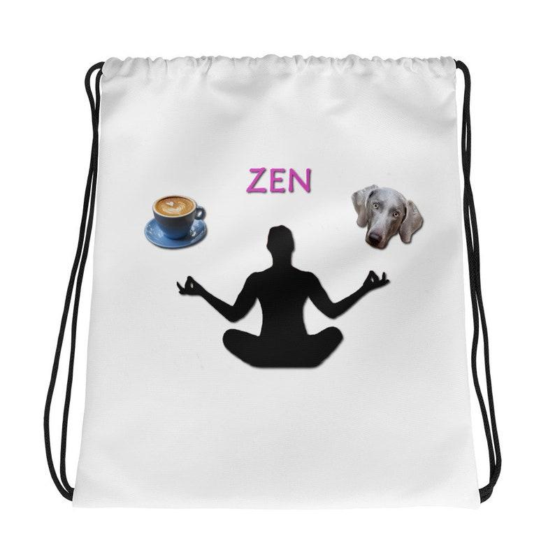 Zen Coffee and Weim Drawstring Bag