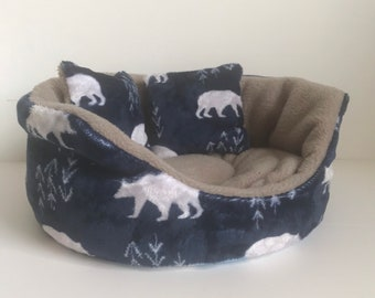 Polar Bear Cuddle Cup, Hedgehog Bed, Guinea Pig Bed, Guinea Pig Accessories, Gift for Guinea Pig, Guinea Pig Fleece, Llama Print, Rat Bed