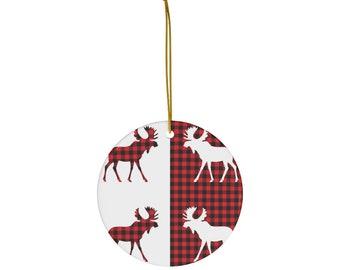 Red and Black Buffalo Plaid Moose Ornament, Moose Decor Decoration, Rustic Moose Christmas Tree Decoration