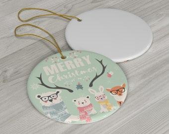 Woodland Animal Christmas Ornament, Merry Christmas Forest Creatures Decoration, Teacher Christmas Gift Animal Lover, Hostess Gift