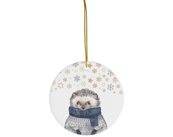 Hedgehog Christmas Tree Decoration, Hedgehog Lover Ornament, Gift for Teacher who Loves Hedgehogs, Hedgehog Ornament Gift
