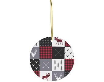 Buffalo Plaid Christmas Ornament, Woodland Moose Tree Decoration, Rustic Plaid Decoration, Plaid Hostess Gift