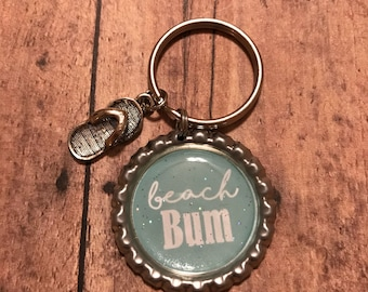 Beach Bum - Bottle Cap Keychain - Flip Flop Charm - Gift for Her - Gift Under 10 - Beach Theme Gift