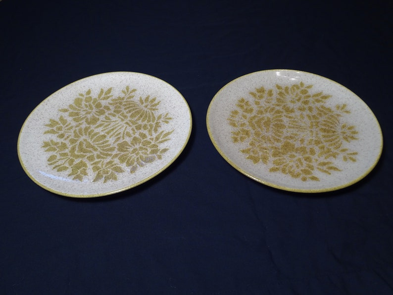 hostess gift collector holiday vintage dinnerware made in Minnesota Damask by Red Wing set of 2 dinner plates vintage stoneware.