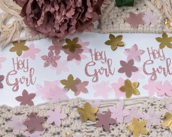 Baby Shower Decorations Girl, Baby Shower Decor, Hey Girl, Baby Girl Shower, Baby Shower Confetti,  Boho Baby Shower Decor, Flower Confetti