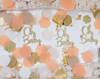 Fall Baby Shower, Oh Baby, Baby Shower Confetti, Peach, Baby Shower Decorations Girl