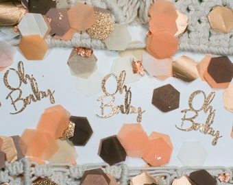Baby Shower Decorations Girl , Oh Baby, Baby Shower Confetti, Boho Baby Shower Decor, Peach, Fall Baby Shower, Baby Shower Brunch